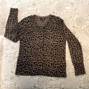 Apt 9 Cashmere Leopard Print Cardigan